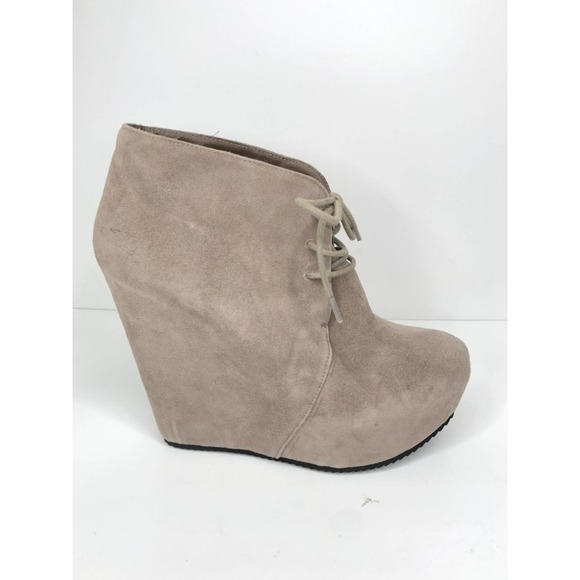 Aldo • Light Gray Lace Up Ankle Bootie Wedges